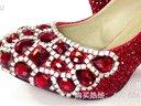 璀璨红宝石水晶鞋婚鞋手工鞋伴娘鞋