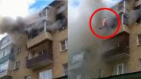 一家四口遇火灾跳5楼逃生