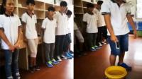 中学生被罚将手机扔进水桶