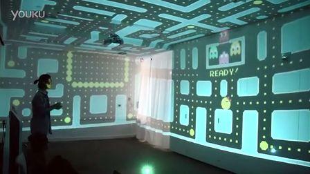 碉堡的3D吃豆人游戏,用整个房间做屏幕