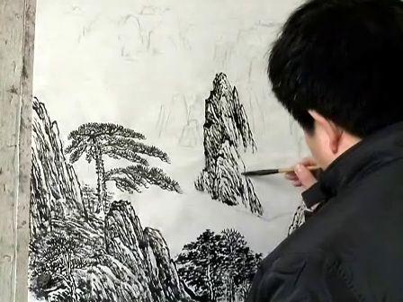 国画山水线描技法 画泉三叠法浏览