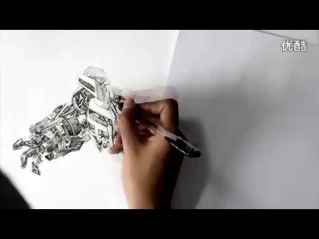 钢笔画手绘变形金刚