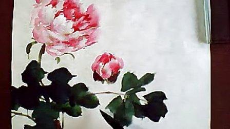 梅若国画教学视频 4开4牡丹1