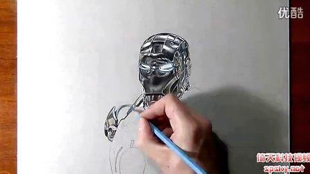 碉堡了!牛人手绘钢铁侠超逼真3D画