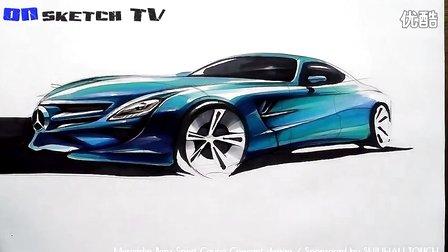 Mercedes Benz汽车马克笔手绘上色