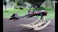 亲爹给女儿打造了一个星球大战中的飞行摩托摇摇椅