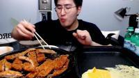 韓國吃播大胃王MBRO哥吃炸豬排和芝士