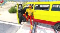 學習彩色汽車——卡車上有麻煩的車,是蜘蛛俠汽車的卡通歌曲為孩子們畫的卡通歌曲