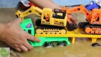 兒童玩具大拖車將挖掘機放到水中 挖掘機水中視頻表演大全